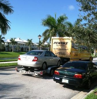 Truck departing B