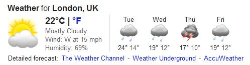 London weather...