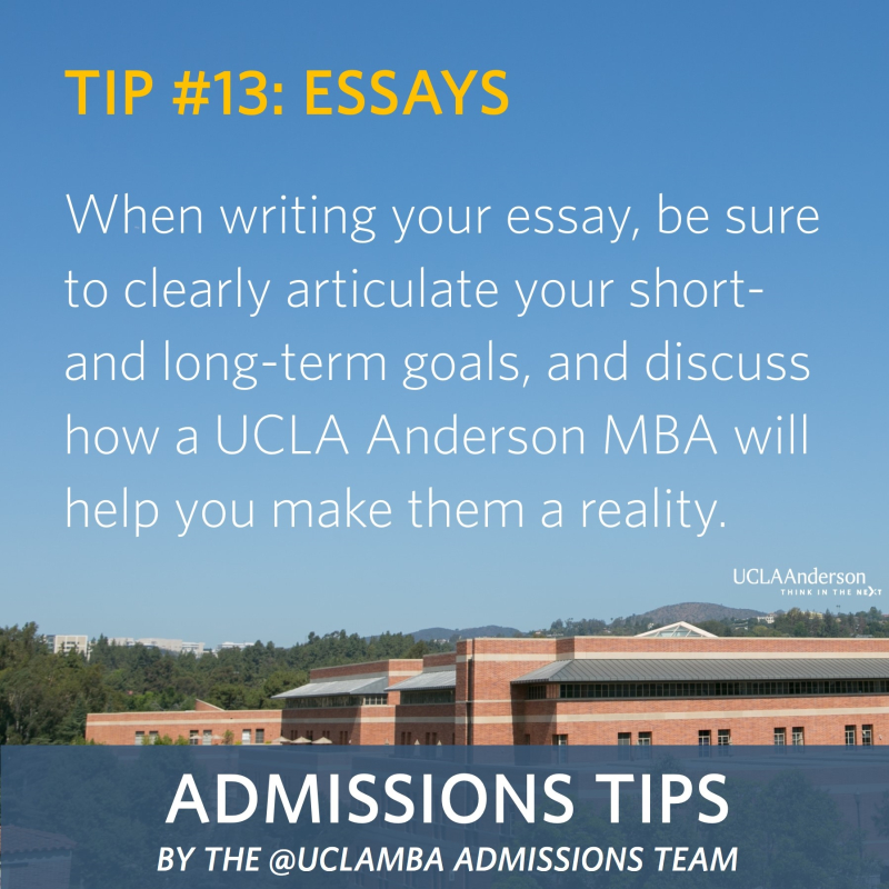 ucla anderson mba essay questions The ucla anderson school of management(anderson) describes itself as  the  essay question states, we believe that the best results are.