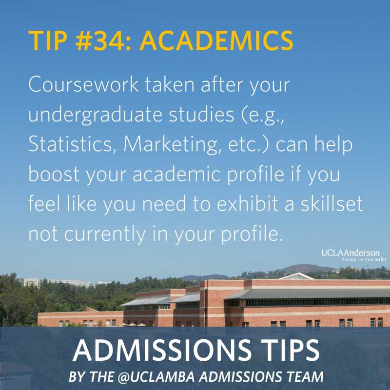 #TuesdayTips by @uclaMBA Admissions: Tip #34 – Academics